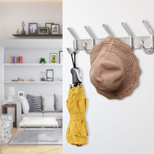 Load image into Gallery viewer, Save nidouillet coat hook wall mounted hook rack rail shelf 8 stainless steel hanger hooks storage organizer bathroom bedroom hats bags ab006