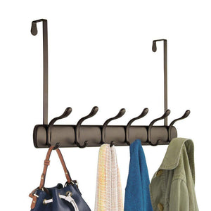 Amazon mdesign decorative over door long easy reach 12 hook metal storage organizer rack to hang jackets coats hoodies clothing hats scarves purses leashes bath towels robes 2 pack bronze