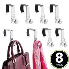 Load image into Gallery viewer, Selection mdesign modern metal and plastic office over the cubicle storage organizer hooks wall panel hangers for hanging accessories coats hats purses bags keychain 8 pack clear brushed