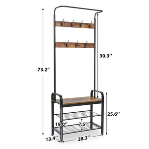 Try kingso industrial coat rack hall tree entryway coat shoe rack 3 tier shoe bench 7 hooks wood look accent furniture with stable metal frame easy assembly