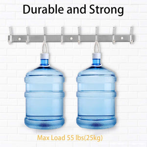 Selection nidouillet coat hook wall mounted hook rack rail shelf 8 stainless steel hanger hooks storage organizer bathroom bedroom hats bags ab006