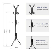Load image into Gallery viewer, Discover the best topvork standing coat rack hanger holder hooks for dress jacket hat and umbrella tree stand with base metal black