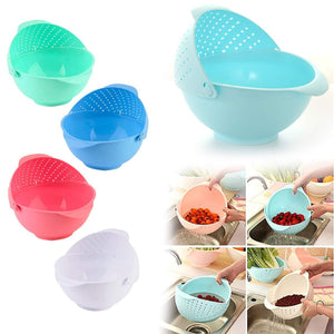 Homeglare Rotating 2 in 1 Plastic Fruits and Vegetable Washing Bowl Strainer Cum Storage Basket (Multicolor, Pack of 1)
