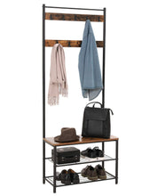 Load image into Gallery viewer, Discover the best vasagle industrial coat rack hall tree entryway shoe bench storage shelf organizer accent furniture with metal frame uhsr41bx rustic brown