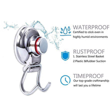 Load image into Gallery viewer, Shop for powerful vacuum suction hooks mocy strong stainless steel suction cup hooks for bathroom kitchen wall home removable shower hools hanger damage free for towel bath robe coat and loofah pack of