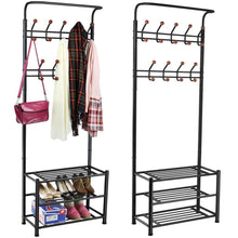 Load image into Gallery viewer, Discover the world pride metal multi purpose clothes coat stand shoes rack umbrella stand with 18 hanging hooks max load capicity up to 67 5kg 148 8lb 26 7 x 12 2 x 74 black