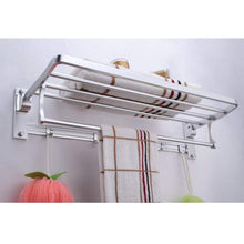 Load image into Gallery viewer, Budget friendly kes a4015 bathroom aluminum foldable towel rack shelf with coat and robe hooks wall mount aluminum