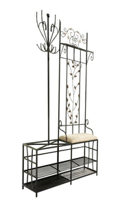 New kings brand black finish metal hallway storage bench with coat rack umbrella holder
