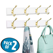 Load image into Gallery viewer, Selection mdesign decorative wood wall mount storage organizer rack for coats hoodies hats scarves purses leashes bath towels robes men and womens clothing 8 metal hooks 2 pack white gold brass