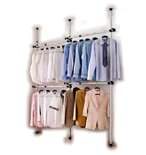 Load image into Gallery viewer, Featured goldcart gc552222 portable indoor garment rack coat hanger clothes wardrobe height 160 320cm width 120 220cm adjustable grey close to white pipes and black brackets 2 count