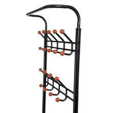 Load image into Gallery viewer, Kitchen songmics entryway coat rack with storage shoe rack hallway organizer 18 hooks and 3 tier shelves metal black urcr67b