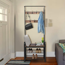 Load image into Gallery viewer, The best kingso industrial coat rack hall tree entryway coat shoe rack 3 tier shoe bench 7 hooks wood look accent furniture with stable metal frame easy assembly