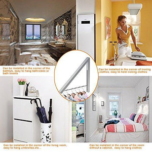 Storage anjuer wall mounted drying rack clothes hanger folding wall coat racks aluminum home storage organiser space savers