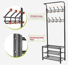 Load image into Gallery viewer, Buy now finefurniture entryway coat and shoe rack with 18 hooks and 3 tier shelves fashion garment rack bag clothes umbrella and hat rack with hanger bar
