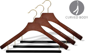 Discover the best deluxe wooden suit hanger with velvet bar walnut finish brass swivel hook large 2 inch wide contoured coat jacket hangers set of 12 by the great american hanger company
