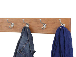 Storage pegandrail cherry coat rack with satin nickle hat and coat style hooks 4 5 ultra wide cherry 52 x 4 5 with 10 hooks