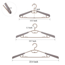 Load image into Gallery viewer, Select nice bondream 6 pack heavy duty plastic extra wide arm 15 23suits clothes hangers with swivel hooks perfect for coat jacket dress shirt trousers or closet space saving grey tan