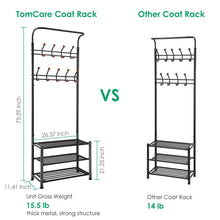 Load image into Gallery viewer, Selection tomcare coat rack with 3 tier shoe rack hall tree entryway bench organizer 18 hooks coat hanger hat racks heavy duty with shoe storage shelves metal black for doorway hallway