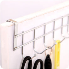 Load image into Gallery viewer, Home 8 double hook over the door hanger by kurtzy stainless steel organizer rack for coat towel bag hat or robe polished silver chrome finish no mounting or fixings required
