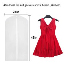 Load image into Gallery viewer, The best linseray 8 pack hanging garment bag 24 x 48 suit bags breathable moth proof garment cover with full zipper for long dress dance costumes suits gowns coats