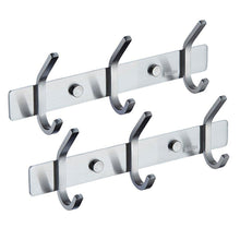 Load image into Gallery viewer, Amazon best mellewell utility hook rails storage racks 8 7 inch with 3 heavy duty hooks wall coat robe towel pan hook hanger bathroom kitchen organizer brushed stainless steel 2 pack 08002hk03