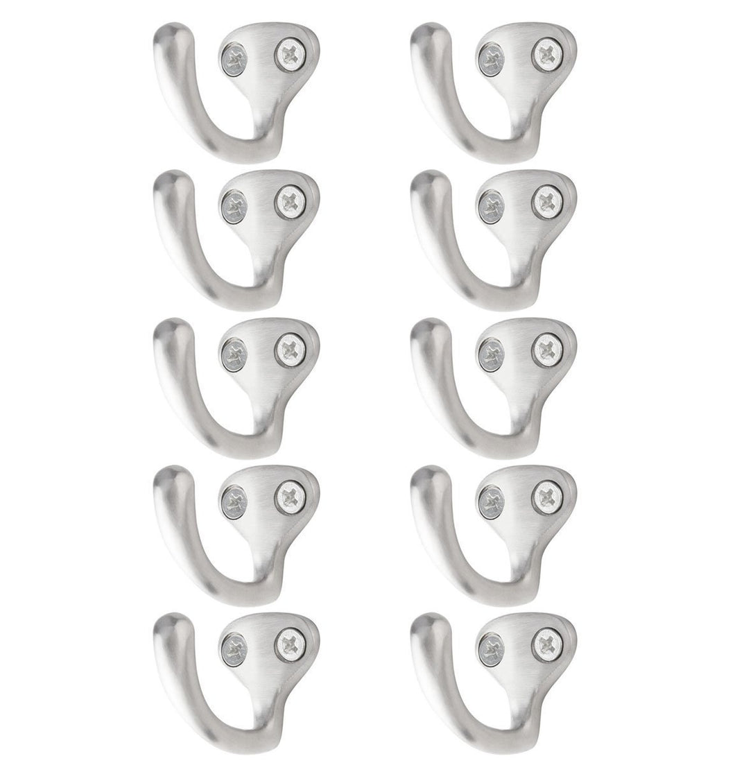Cheap bar face wall mount purse coat key hook brushed stainless steel set of 10