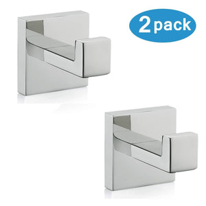 Top rated nolimas bath towel hook sus 304 stainless steel square clothes towel coat robe hook cabinet closet door sponges hanger for bath kitchen garage heavy duty wall mounted chrome polished finish 2pack