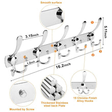 Load image into Gallery viewer, Storage organizer 2 packs wall mount coat hooks hook rack rail wall hook rack for hanging clothes coat hat towels