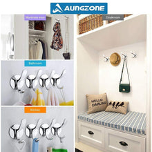 Load image into Gallery viewer, Top aungzone towel hooks for bathroom kitchen coat clothes robe hook rustproof wall mount stainless steel no drilling heavy duty 2 pack