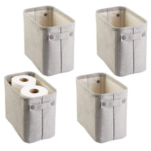 Load image into Gallery viewer, Buy now mdesign soft cotton fabric closet storage organizer bin basket storage organizer for bathroom coated interior attached handles use on vanity cabinet shelf countertop tall 4 pack light gray