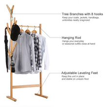 Load image into Gallery viewer, Get langria single rail bamboo garment rack with 8 side hook tree stand coat hanger and four stable leveling feet for jacket umbrella clothes hats scarf and handbags natural wood finish