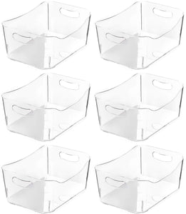 YBM HOME Open BIN Storage Basket Kitchen Pantry, Bathroom Vanity, Laundry, Health and Beauty Product Supply Organizer, Under Cabinet Caddy (Medium - 6 Pack, Clear)