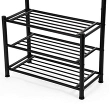 Load image into Gallery viewer, Explore songmics entryway coat rack with storage shoe rack hallway organizer 18 hooks and 3 tier shelves metal black urcr67b