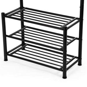 Explore songmics entryway coat rack with storage shoe rack hallway organizer 18 hooks and 3 tier shelves metal black urcr67b