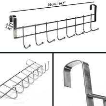Load image into Gallery viewer, Latest 8 double hook over the door hanger by kurtzy stainless steel organizer rack for coat towel bag hat or robe polished silver chrome finish no mounting or fixings required