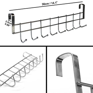 Latest 8 double hook over the door hanger by kurtzy stainless steel organizer rack for coat towel bag hat or robe polished silver chrome finish no mounting or fixings required