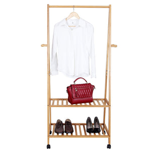 Storage songmics rolling coat rack bamboo garment rack clothes hanging rail with 2 shelves 4 hooks for shoes hats and scarves in the hallway living room guest room