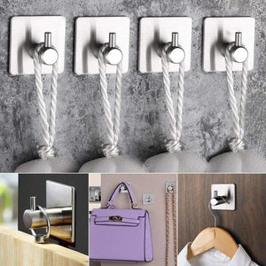Online shopping self adhesive hooks keku 6 pack heavy duty stainless steel bathroom tower hooks for closets coat robe hanger rack wall mount