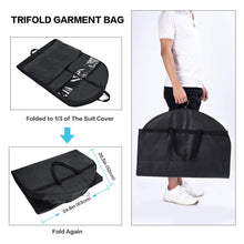 Load image into Gallery viewer, Results wanapure 60 54 43 garment bags 3 in 1 suit bag with 2 large mesh shoe pockets and accessories pocket trifold suit cover for dress coat jacket closet storage or travel set of 2 black