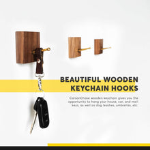 Load image into Gallery viewer, Discover the black walnut wooden wall mounted coat hooks 6 pack bonus of 3 key hooks towel or hat rack keychain hooks hooks for hanging hats caps headphones jackets purses a kitchen wall organizer