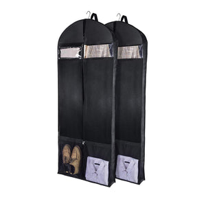 Products wanapure 60 54 43 garment bags 3 in 1 suit bag with 2 large mesh shoe pockets and accessories pocket trifold suit cover for dress coat jacket closet storage or travel set of 2 black