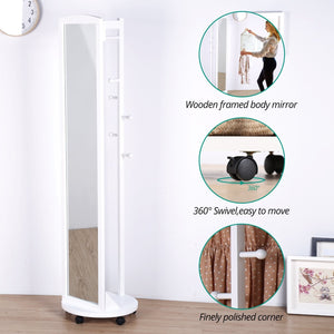 Top tiny times multifunctional 360 swivel wooden frame 69 tall full length mirror dressing mirror body mirror floor mirror with hanging bar coat stand coat hooks ivory white