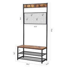 Load image into Gallery viewer, Related vasagle industrial coat stand shoe rack bench with grid memo board 9 hooks and storage shelves hall tree with stable metal frame rustic brown uhsr46bx
