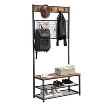 Load image into Gallery viewer, Save vasagle industrial coat stand shoe rack bench with grid memo board 9 hooks and storage shelves hall tree with stable metal frame rustic brown uhsr46bx