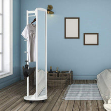 Load image into Gallery viewer, The best tiny times multifunctional 360 swivel wooden frame 69 tall full length mirror dressing mirror body mirror floor mirror with hanging bar coat stand coat hooks ivory white