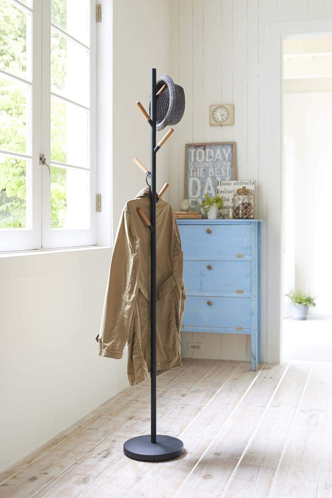 Related stainless steel wood modern coat tree rack in black finish