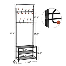 Load image into Gallery viewer, Heavy duty songmics entryway coat rack with storage shoe rack hallway organizer 18 hooks and 3 tier shelves metal black urcr67b