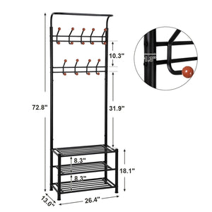 Heavy duty songmics entryway coat rack with storage shoe rack hallway organizer 18 hooks and 3 tier shelves metal black urcr67b