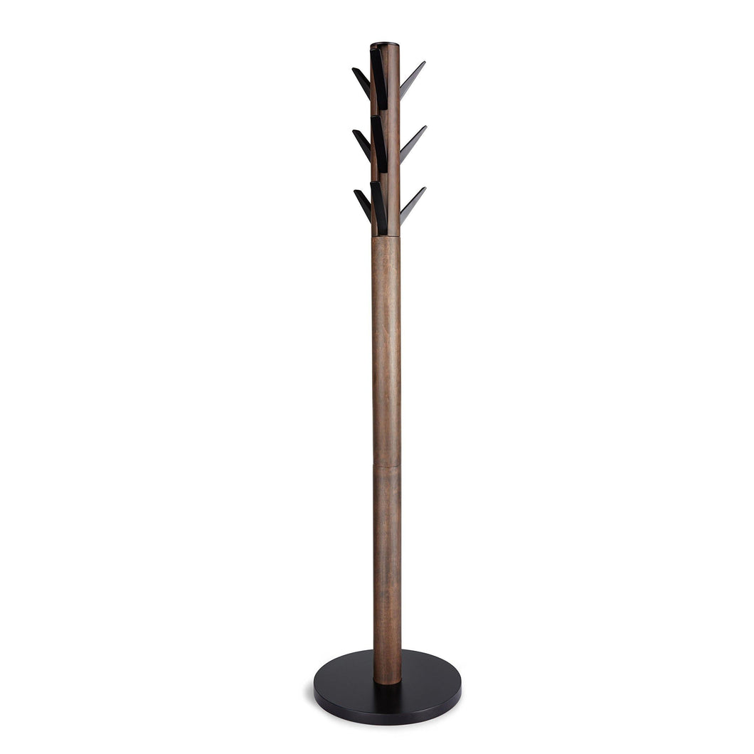 Exclusive umbra flapper coat rack clothing hanger umbrella holder and hat organizer great for entryway black walnut