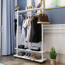 Load image into Gallery viewer, Top angels home standing coat racks wooden free to move white hall trees coat rack stand shoe rack hooks clothes stand tree stylish wooden hat coat rail stand rack clothes jacket storage hanger organiser